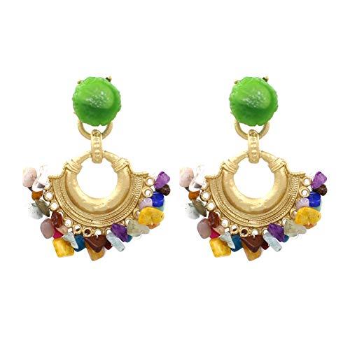 BLINGBRY oorbellen met kwasten van groene steen voor dames, vintage, etnisch, van verguld metaal in de vorm van een waaier, oorstekers, sieraden voor een feestje in de boho-cadeau.