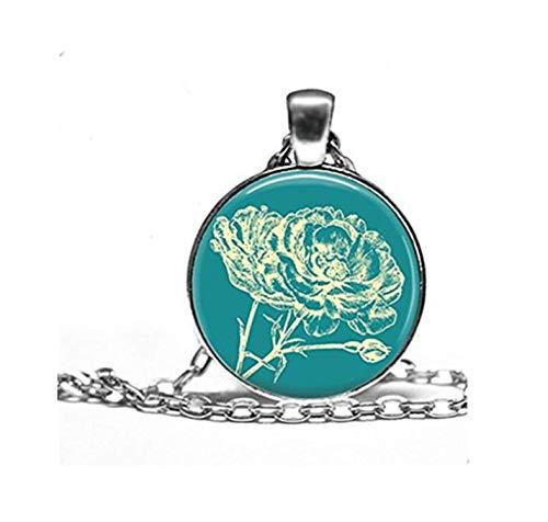 Blaugrün Und Elfenbein Floral Stempel Halskette Anhänger–wählen Sie Größe