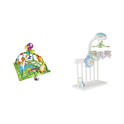 Fisher-Price - Gimnasio Deluxe Animalitos de la Selva, Manta de Juego Bebé (Mattel DFP08), Embalaje estándar + Móvil ositos voladores, juguete de cuna proyector para bebé (Mattel CDN41)