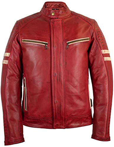 MDM Herren Motorradjacke Lederjacke mit Protektoren in rot (3XL)