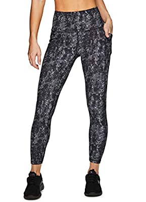 RBX Active Women's Super Soft Peached Snakeskin Squat Proof Running Yoga 7/8 Legging with Pockets Black Snakeskin S