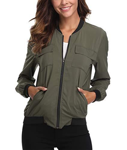 Womens Sommer leichte Lightweight Bomberjacke Lässig Casual Mantel Zip up Lange Ärmel Plain Army Green Moderne Outwear - M