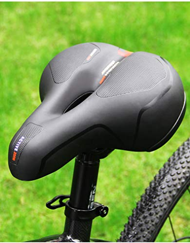 SP STORE Fahrradsattel, bequemer Sitz aus Memory-Schaum, für Mountainbikes, Klappräder, Citybikes, Heimtrainer, Werkzeugset, wasserdicht, Staubschutz (Schwarz Rot)