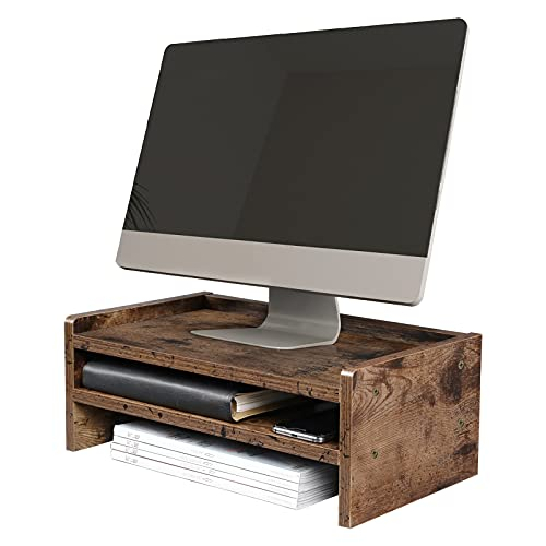 OROPY Träskärm Stativ Screen Riser, 2 nivåer skrivbordsförvaring organisatör för TV, datorer, bärbara datorer, designad för hem eller kontor – mörkbrun