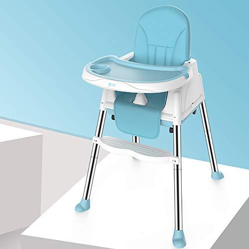 XIAOLI Silla alta con 4 ruedas, silla alta plegable, altura ajustable, con bandeja doble desmontable y arnés de seguridad para niños pequeños de 6 meses a 3 años (color: azul)