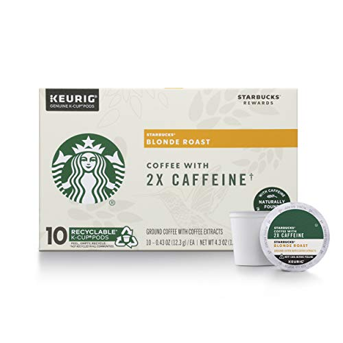 Starbucks Blonde Roast K-Cup Coffee Pods with 2X Caffeine  for Keurig Brewers  6 boxes (60 pods total)