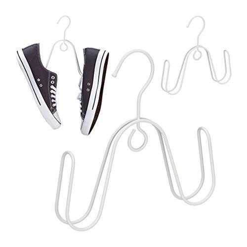 Relaxdays Juego de 3 Perchas para Zapatos, para 1 par de Zapatos, Ahorra Espacio, Metal, 22 x 21,5 x 3 cm, Color Blanco