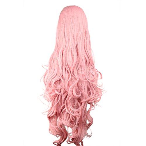 Frcolor - Perruque longue et ondulée pour femme - 40 cm - Rose - Ultra douce - Résistant à la chaleur - Accessoires pour cosplay