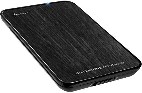 Sharkoon Quickstore Portable USB 3.0 Gehäuse für 2,5 Zoll (6,4cm) SATA Festplatte inkl. Backup Funktion schwarz