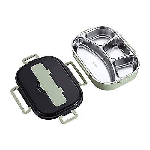 YLLAND Caja de Acero Inoxidable, 4 Compartimentos Caja de Almuerzo con Conjunto de Utensilios portátiles, contenedor de Alimentos, empaque de refrigerios en la Comida, Azul LNNDE (Color : Green)