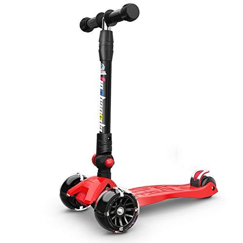 Vudifo Mini Scooter Plegado rápido Scooters Altura Ajustable Grandes Scooters De Gran tamaño Destello Rueda Delantera cooters Apto para niños Mayores de Dos años. (Color : Red)