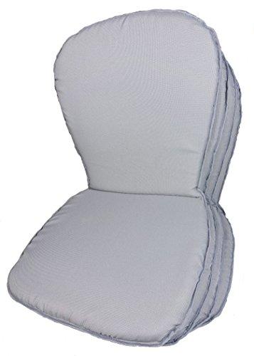 Rattani - Set 4 x Stuhlkissen/Sitzkissen Sara, Monoblock Auflage niedrig, Gr. 78 x 41 cm Dicke 2,5 cm, Fb. Soft Gray, Polyester - Made in EU