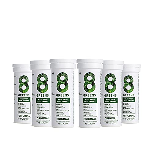 8Greens Immunity and Energy Effervescent Tablets - Packed with 8 Powerful Super Greens (Lemon-Lime, 6 Tubes/60 Tablets)