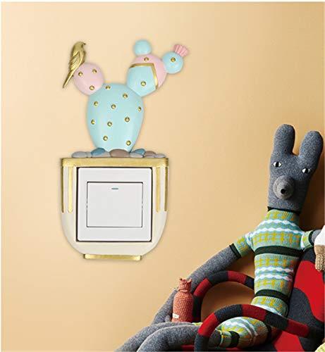 WANGXINQUAN Pegatinas para interruptor de pared creativas europeas con interruptor de resina, cubierta protectora decorativa para sala de estar, dormitorio (estilo: palma blanca)