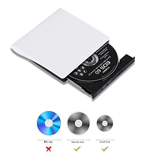 Externes Laufwerk USB 3.0 Externe DVD CD DVD-RW Brenner Targbaren Slim Optische Laufwerk für Windows 7/8 / 10 / Vista/XP, MacBook/iMac, alle Laptop/Desktop - Conhee - Weiß