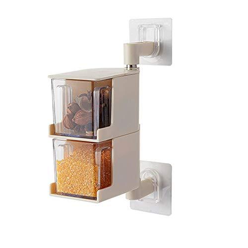 Local Makes A Comeback – kryddbehållare av plast med sked – vridbar krydda till väggen utan kökstång 2-lagers beige