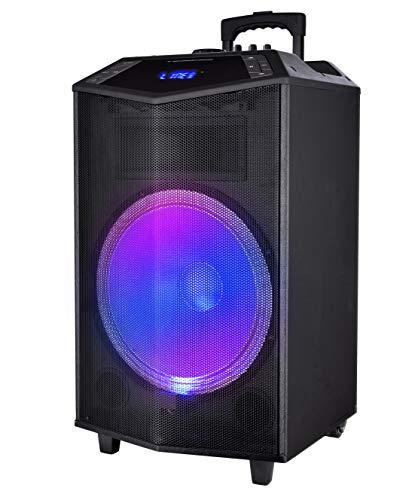 Sytech SYXTR42 Prism - Altavoz Trolley Profesional 150W, Bluetooth V4.2, Luces LED, Sintonizador FM, Color Negro