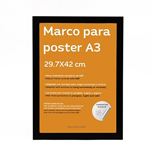 Nacnic Marco Negro tamaño A3-29,7x42cm. Marco Negro para Fotos, Posters, Diplomas,
