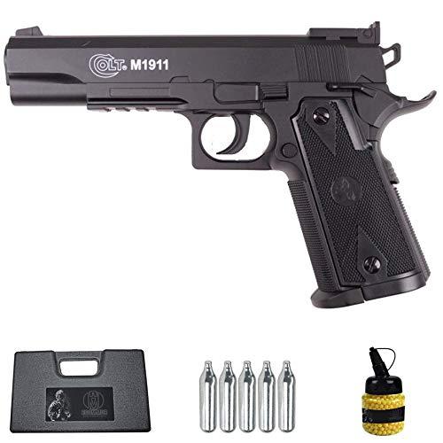 Pistola Colt 1911 CO2 Match (6MM) | Arma Corta de Airsoft (Bolas de plástico) + maletín PVC + biberón