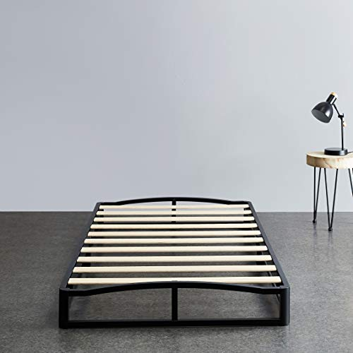 "Amazon Basics 6"" Modern Metal Platform Bed with Wood Slat Support - Mattress Foundation - No Box Spring Needed, Twin"