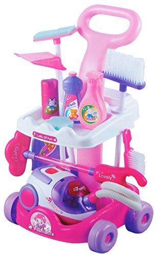 Reinigungswagen in pink mit viel Zubehör