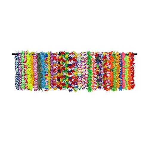 42 unidades de collar tropical Hawaii Flower Leis Accesorios para fiestas Cadena de flores de guirnaldas hawaianas