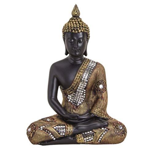 G.W. Große Buddha-Figur meditierend sitzend, 27 cm in schwarz Gold, mit feiner Struktur gemuster, Deko-Artikel für Wohnung & Haus, Buddha-Skulptur, Wohnaccessoire, schöne Thai Statue, innen und außen
