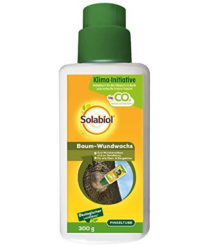 Solabiol Baum-Wundwachs, zum Wundverschluss und zur Veredelung von Obst- und Ziergehölzen, schützt vor Nässe und Austrocknung, Pinseltube, 300g, Anwendungsfertig