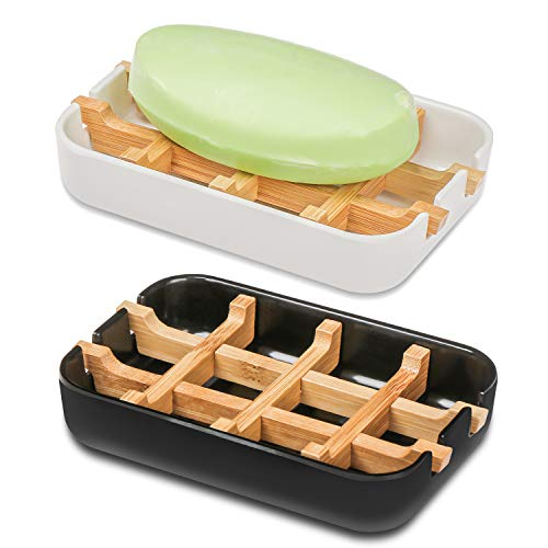 genenic 2 Pcs Soap Dish, Bathroom Bamboo Fiber Soap Dish, Durable Soap Dish, Keep Dry And Easy To Clean, With Drain Pan, Used In Bathroom And Kitchen