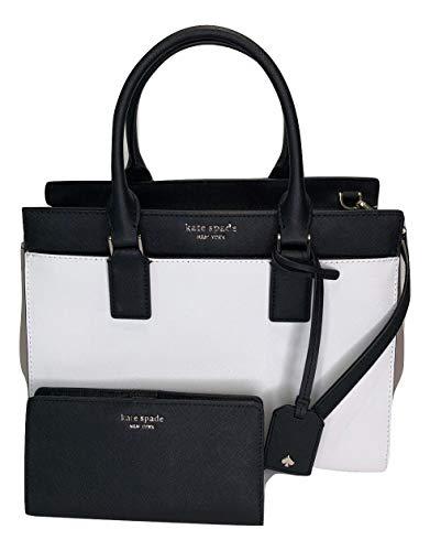 Kate Spade New York Cameron Medium Satchel WKRU5852 bundled with matching Slim Bifold Wallet (Warm Beige/White/Black)