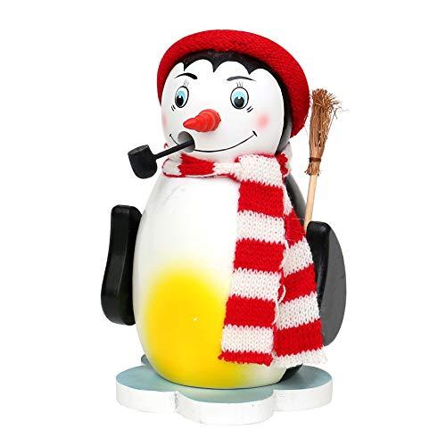 Dekohelden24 Farbenfrohe Räucherfigur Pinguin auf Eisscholle mit Schal, in Rot, ca. 16 cm