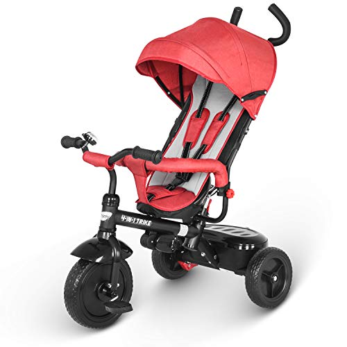besrey Kids Trike Tricycle Toddler Tricycle with Adjustable Canopy, Parent Push Handle for 1-6 Years Baby Toddler - Red