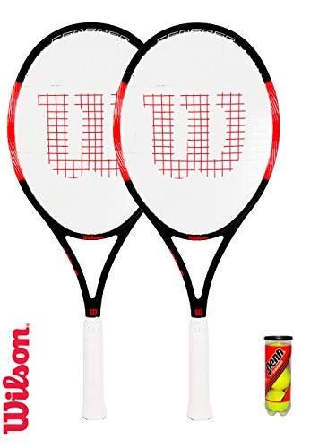 Wilson Federer PRO 105 Graphite Racchetta da Tennis (Varie opzioni) (2 x Racchetta da Tennis, Copertura e Palline)