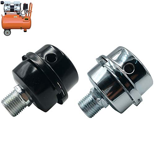 2 PCS 1/2'PT 20mm Oil-less Air Compressor Silencer Filter Metal Air Compressor Intake Filter Noise Muffler