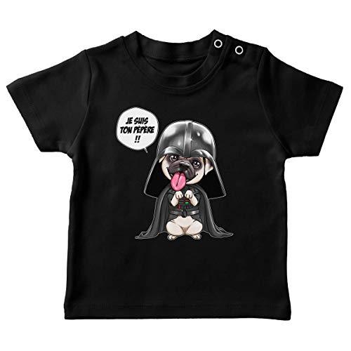 T-Shirt bébé Noir Parodie Star Wars - Dark Vadog et Le Carlin Se prenant pour Dark Vador - Je suis Ton pépère. !! (T-Shirt de qualité Premium de Taille 6 Mois - imprimé en France)