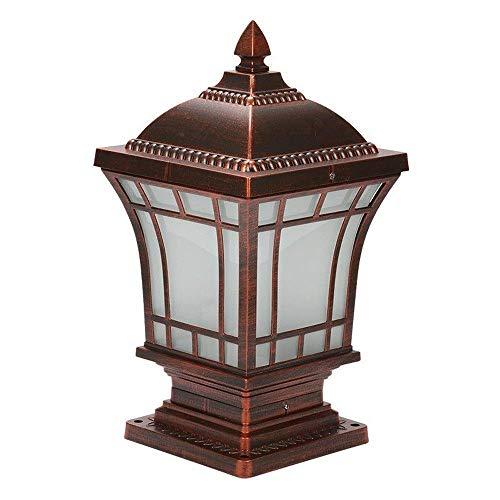 Decoración de muebles Luces de poste de jardín Faro de pilar cuadrado Lámpara de pared de columna de país americano Luces de poste industrial Luz de poste de poste rojo-marrón retro Lámpara decorat