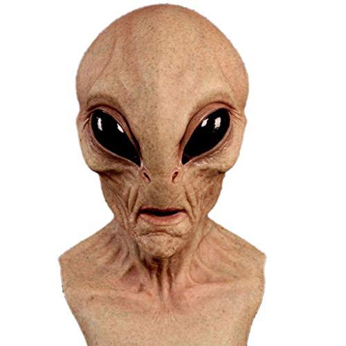 TIREOW Karneval 3D UFO Realistische Alien Kopfbedeckung, Latex Gruselige Halloween Kopfbedeckung, Gruselige Halloween Vollkopfmaske Latexmaske Lustige Masken für Frauen Männer Kinder (B)