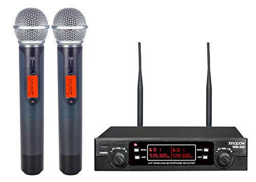 innopow 80-Channel Dual UHF Wireless Microphone System,Metal Cordless Mic Set