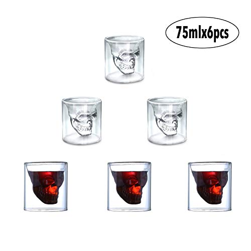 auvstar Totenkopf Schnapsglas , 6 Schädelförmige Weingläser 75ml, Doppelschicht-Transparentes Kreative Weinglas,Weinflasche bei Halloween, Weihnachten,Bar, Party und Geschenk