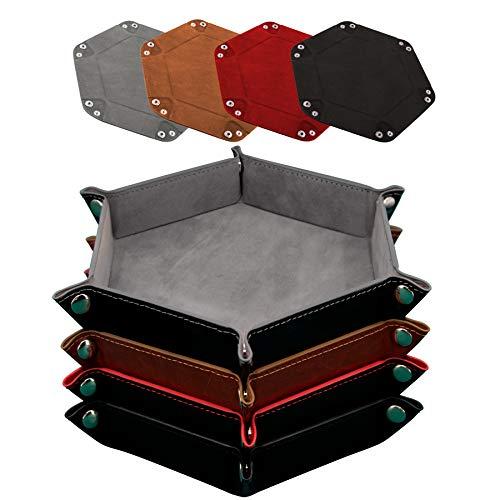 SIQUK 4 Stück Würfelbretter Leder und Samt Würfelteller, 4 Farbe Würfeltablett Hexagon Würfelteller Leder Würfelbretter für RPG DND Dragons Würfel Gaming (Gris, Chameau, Rouge und Noir)