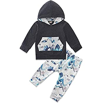 Babys First Christmas Outfit Boy Mountain Print Comfy Hoody Pants Two Pieces Set Toddler Clothing for Boys Girls Fall Winter Clothes 18-24 Months