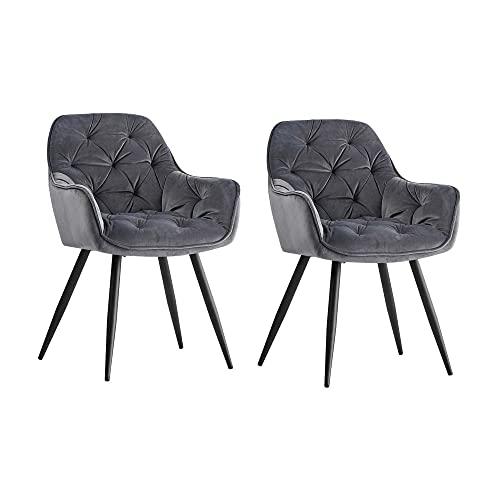 JaHECOME Sessel Esszimmerstuhl aus Stoff (Samt) Wohnzimmerstuhl Farbauswahl Retro Design Armlehnstuhl Stuhl mit Rückenlehne Sessel Metallbeine Schwarz (2, Gray)