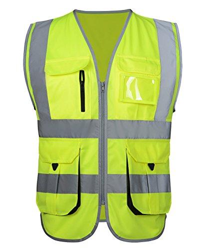 Atmungsaktiv Warnweste Starke Reflektierende Weste Sicherheitsweste mit Taschen - Fluoreszenz Grün Gelb Größe XL