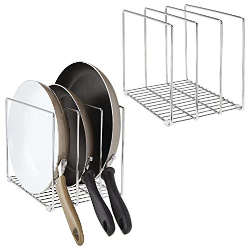 mDesign Sujeta sartenes de Metal – Compacto Organizador de Armario de Cocina...