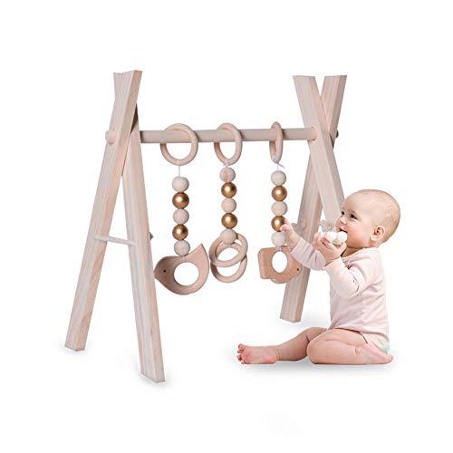 Gimnasio para bebés de madera plegable móvil con 3 barras colgantes, juguetes de gimnasio, centro de actividades con marco de gimnasio para bebés recién nacidos orgánicos para niños de 3 meses +
