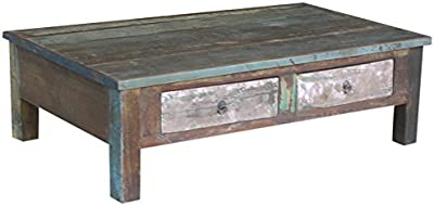 Timbergirl Reclaimed Wood Double Drawer coffee table, brown, multi