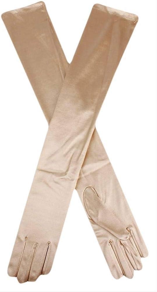 Dents Womens Long Satin Shoulder Length Evening Gloves - Gold