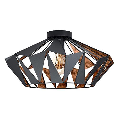 EGLO Deckenlampe Carlton 6, 1 flammige Deckenleuchte Vintage, Industrial, Retro, Wohnzimmerlampe aus Stahl in Schwarz, Kupfer, Küchenlampe, Flurlampe Decke mit E27 Fassung