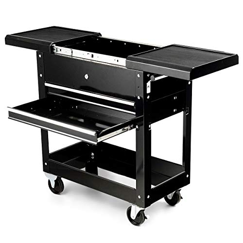Goplus Rolling Tool Cart, Steel Sliding Drawer Tool Organizer, Black