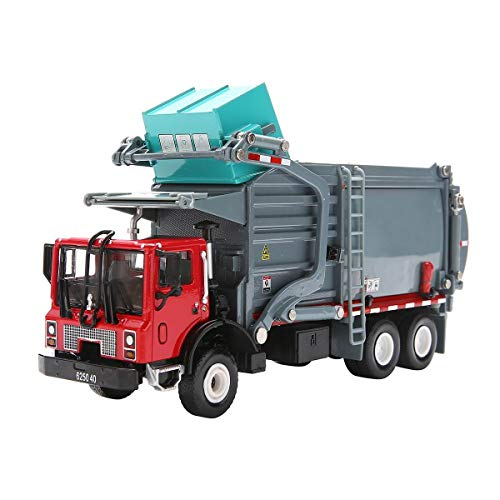 Garbage Truck Toy Model, 1:43 Scale Metal Diecast Recycling Clean Trash Garbage Rubbish Waste Transport Truck Alloy Model Mold Car Toy with Garbage Cans for Kids Toddlers Birthday Party Supplies(Gray)